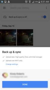 image backup by google photos