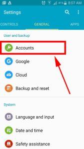 settings account option