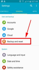 settings backup and reset options