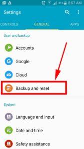settings backup and reset options