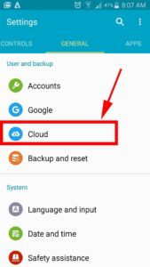 settings cloud option