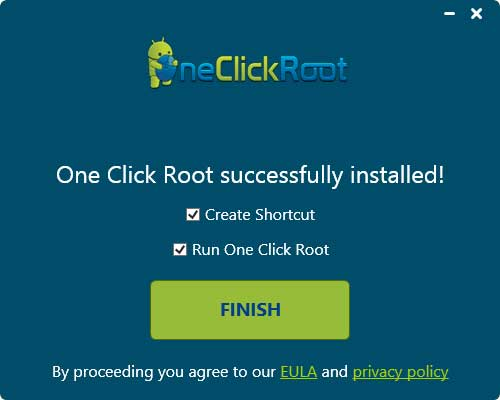one click root finished installing