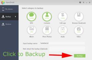 SyncDroid backup options