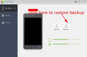 SyncDroid select to restore