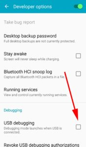 click to enable usb debugging